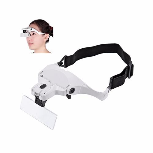 lupa de cabeça oculos profissional 5 lentes luz led