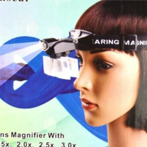 lupa de cabeça / pala - 5 lentes de aumento - luz led focada