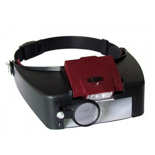 lupa de cabeça pala com luz e 3 lentes eletronica e estetica