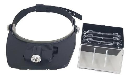 lupa de cabeça profissional led com 4 lentes aumento
