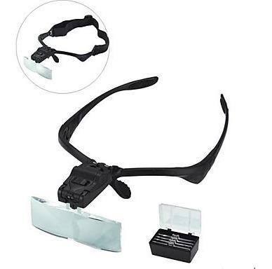 lupa de cabeça profissional luz 5 lentes de aumento pala