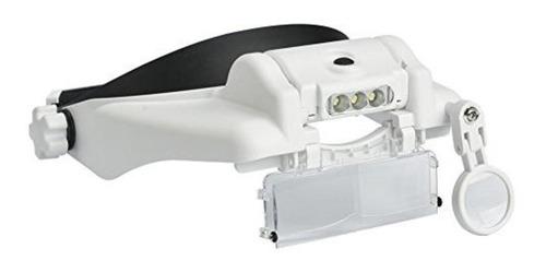lupa de cabeça recarregavel 3 leds profissional com 3 lentes