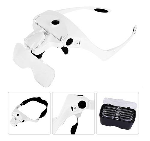 lupa de cabeca recarregavel oculos 2 leds pala profissional