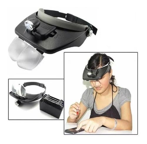 lupa de cabeza visera magnificadora luz led 4 lupas premium