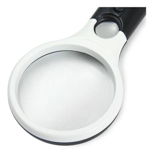 lupa de mano con luz led microscopio lectura joyería x3 x45