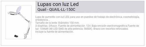 lupa de mesa 3x ø15cm luz de 48 leds 5600k 12v quial-ll-150c