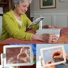 lupa de mesa 3x maos livre led estetica leitura artesanato