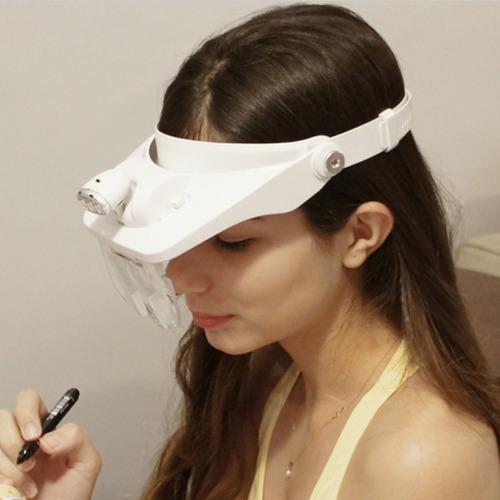 lupa de pala com 4 lentes e 3 leds mg81001e branca