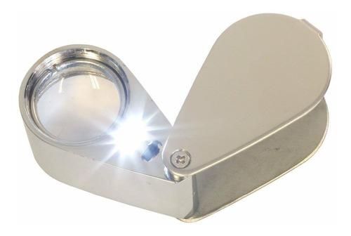 lupa de vidrio óptico con luz led 30x 21mm geología joyería