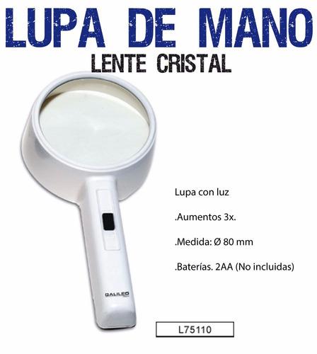lupa galileo l75110 de mano 3x 80mm con luz nueva pilas aa