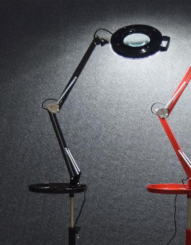 lupa led com tripé e bandeja estek branca, preta ou vermelha