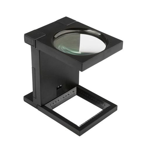 lupa led de mesa e bancada conta fios em aluminio preta gran