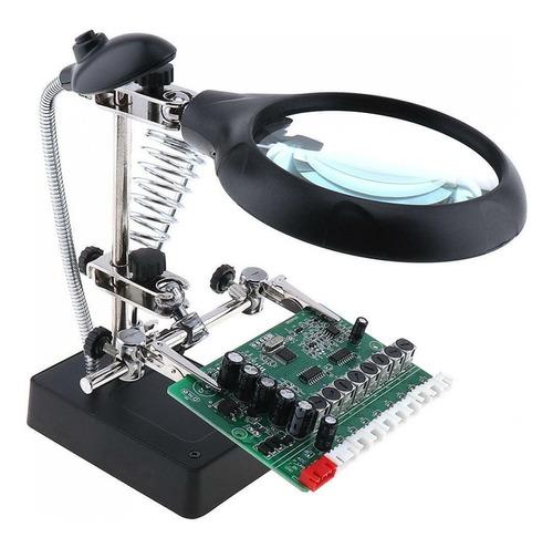 lupa lente aumento 10x bancada eletrônica mesa bivolt garras