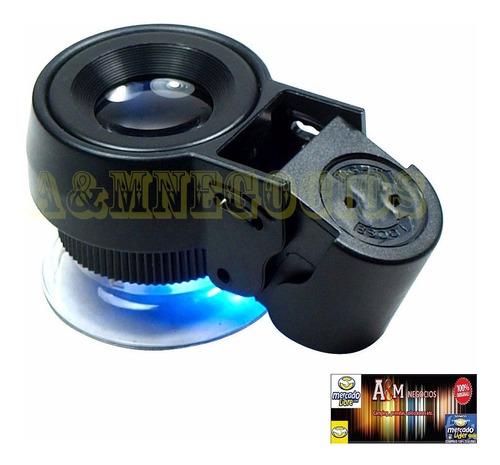 lupa magnificadora 45 x con luz led y luz uv