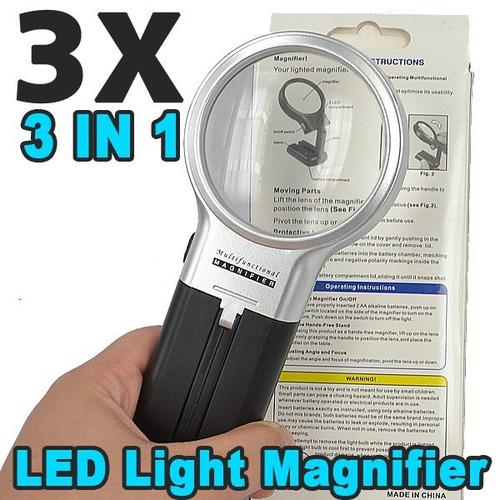 lupa manos libres 3x de ampliacion con  lampara led 3 en 1