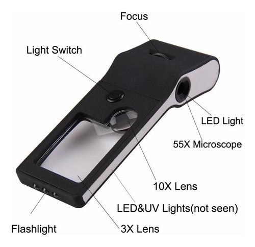 lupa microscopio de bolsillo 55x luz led y luz uv