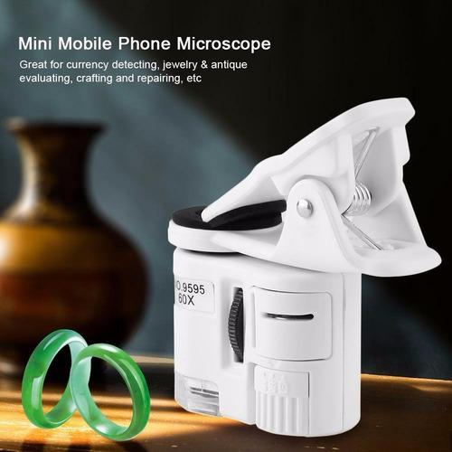 lupa microscopio lente clip celular smartphone 60x 9595 led