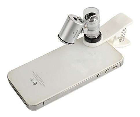 lupa microscopio zoom x60 beileshi + clip c/luz uv p/celular