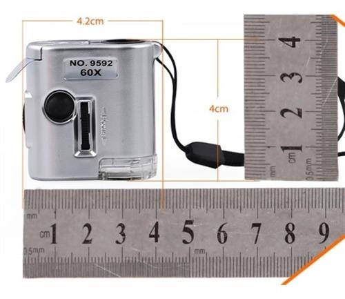 lupa mini microscopio 60x com conta fios com estojo