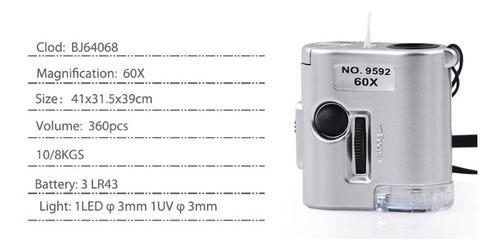 lupa mini microscopio 60x com led e ultravioleta conta fios
