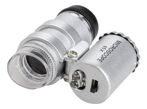 lupa mini microscopio led de bolso portatil de mao aumento