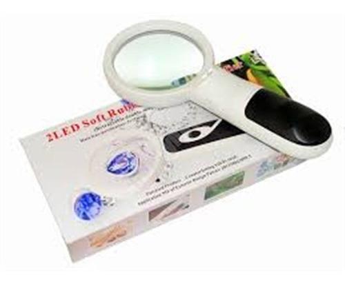 lupa mão profissional diâmetro 2 leds magnificação 3x 75mm d