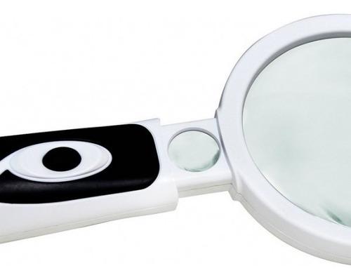 lupa mão slp-185 com 2 lentes aaa dupla led 2,5x 20x solver