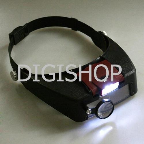 lupa o lente de aumento 10x tipo cintillo con led