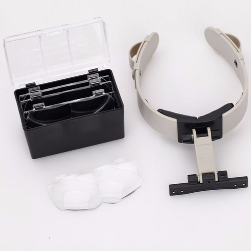 lupa optovisor con luz led 4 lentes diadema 1.2x - 3.5x