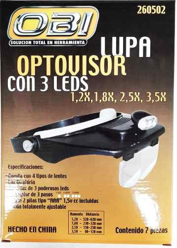 lupa optovisor manos libres 3 led lentes 1.2x 1.8x 2.5x 3.5x