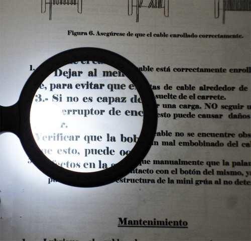 lupa redonda de bolsillo con led de 48 mm  aumento 4-8x