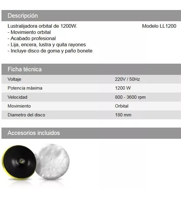Lustra Lijadora Pulidora Rotativa Daihatsu Ll1200 Detailling
