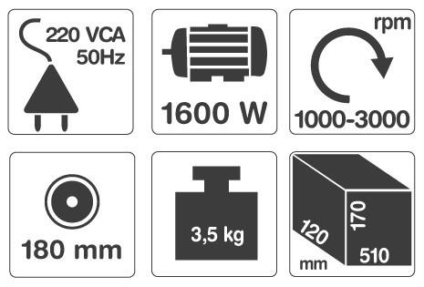 lustralijadora gamma 7  180mm 1600w hg029