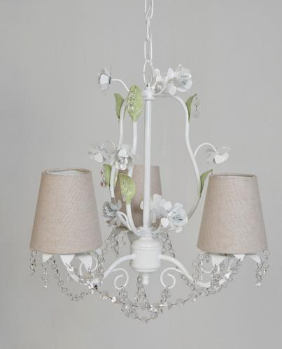 lustre 3 cupulas luminária provençal cristal bebê menina