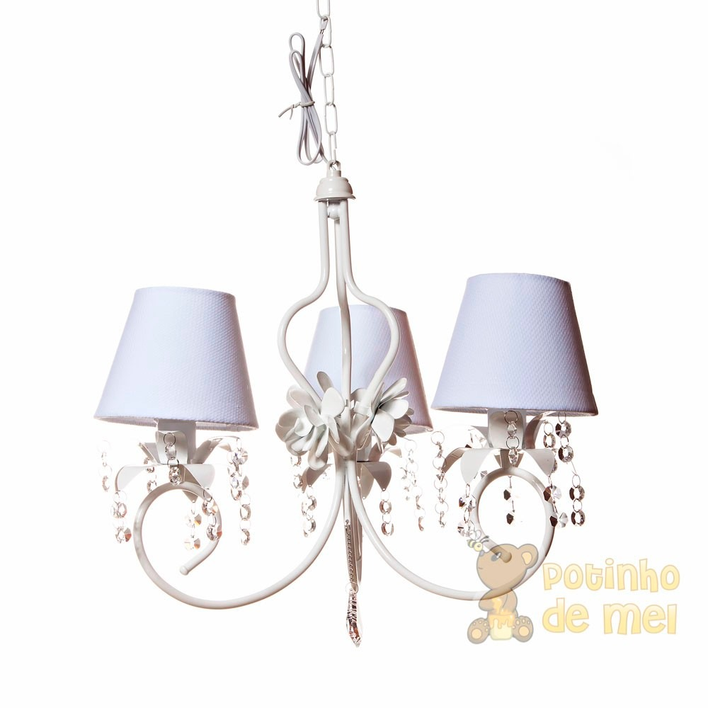 lustre 3 c pulas proven al cristal flores rosa beb. Black Bedroom Furniture Sets. Home Design Ideas