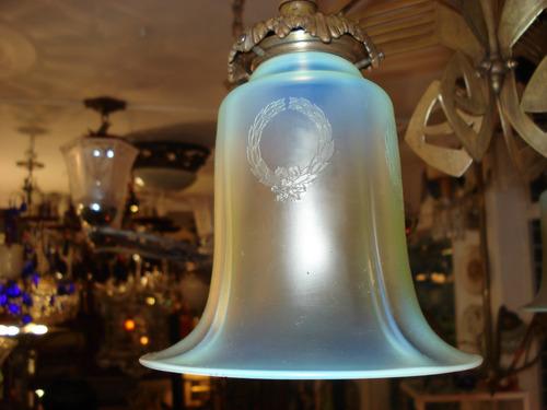 lustre art noveau em cristal e bronze século xix