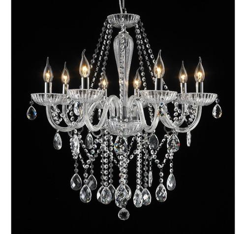 lustre clássico maria teresa 8 braços - cristais legítimos