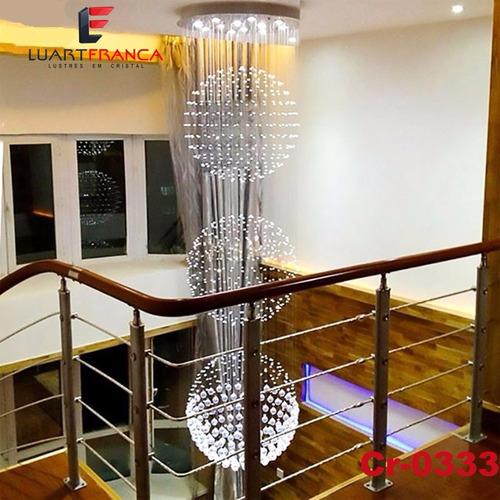 lustre cristal 3 globos de 3,5 até 4 metros com as lampadas