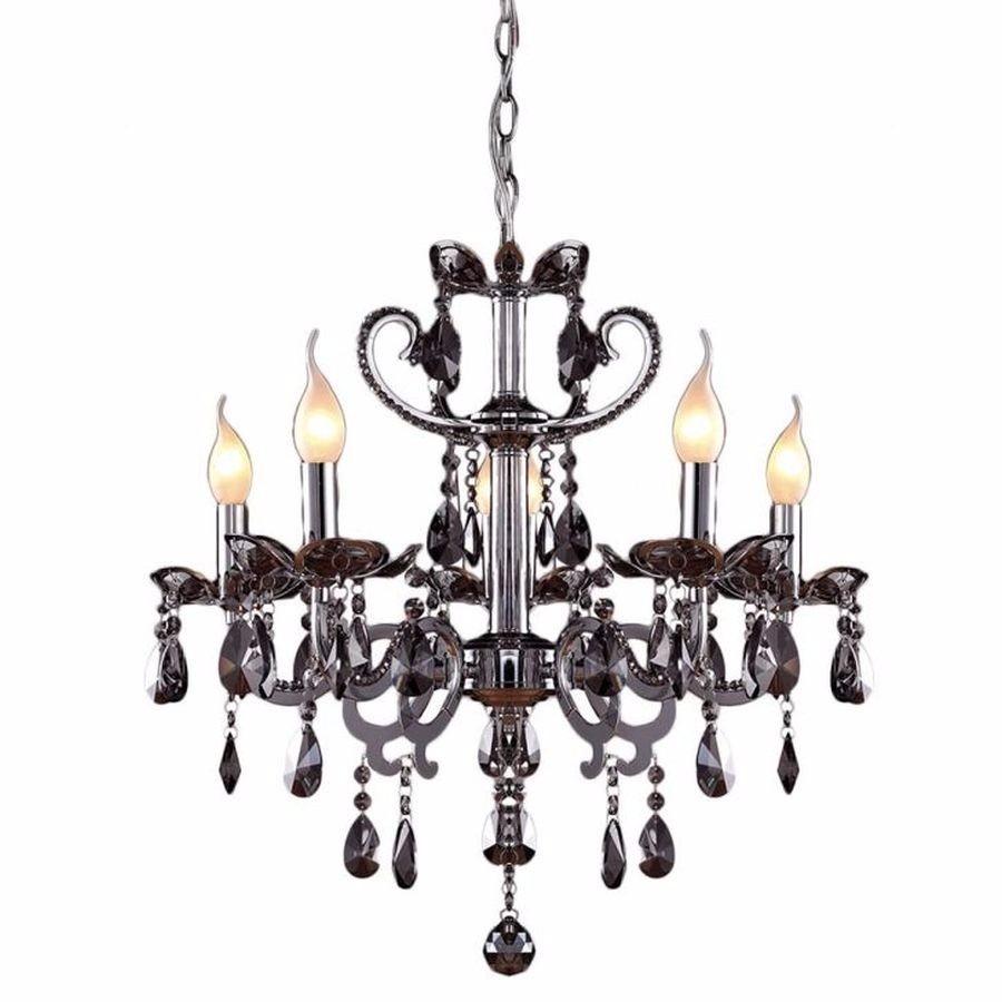 Lustre Cristal Fume 5l C Lamp Led Sala Mesa Jantar Living P R 698  -> Lustre Sala De Jantar Led