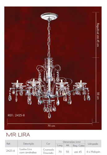 lustre cristal maria tereza 6 braços ø70 clássico 2425-6 mr