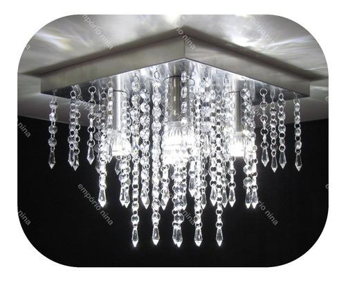 lustre de cristal acrílico a30 - inox 30x30cm - e27 bivolt