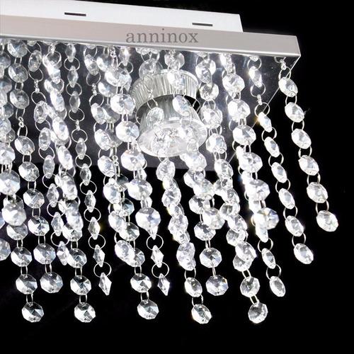 lustre de cristal castanha plafon retangular 30x15x15cm bf01