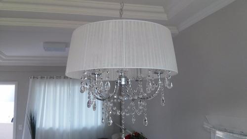 lustre de cristal cúpula 4 braços mesa sala de jantar quarto