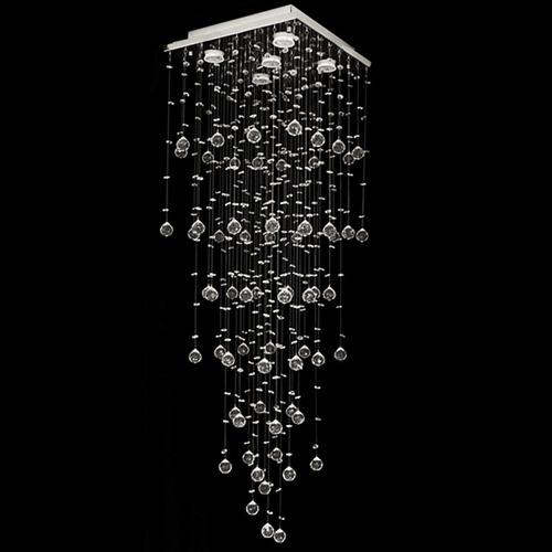 lustre de cristal mie quadrado 38x38x120cm - jp mie 38