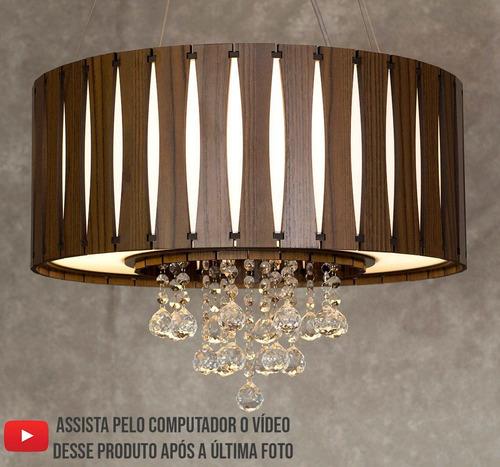 lustre de madeira com cristais 50cm freijó escuro mod. purus