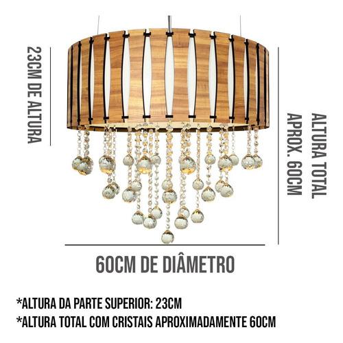 lustre de madeira redondo com cristais 60cm amêndola