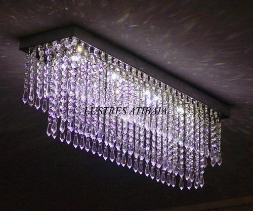 lustre em cristal egípcio asfour retangular com 70cm