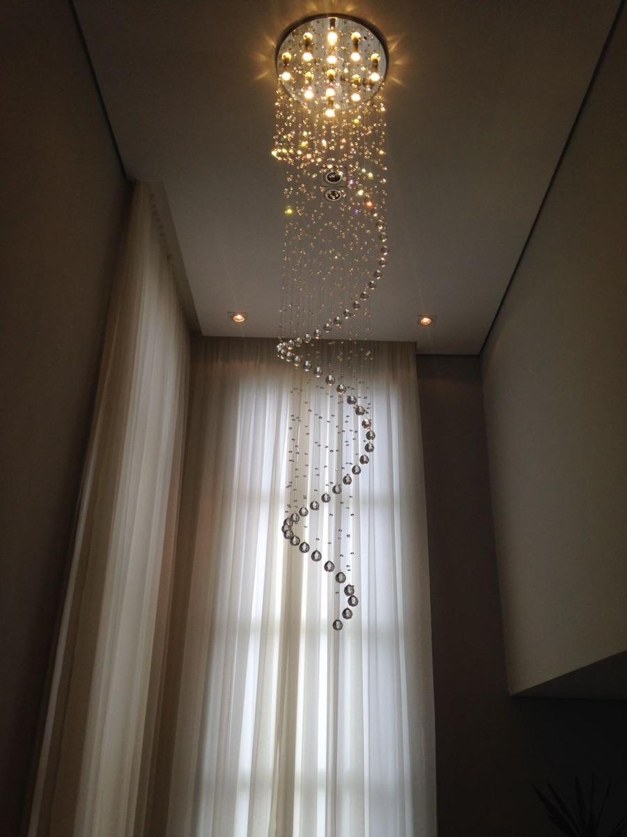Lustre Em Cristal Para Sala De Pe Direito Alto Ou Escada R 1 500  -> Lustres Para Sala De Teto Alto