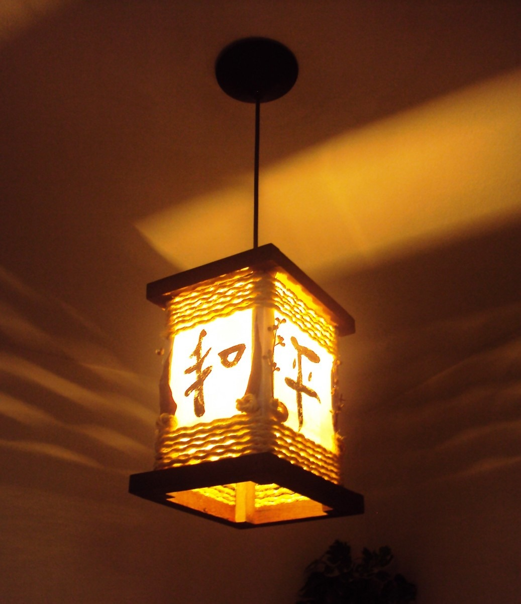 lustre estilo oriental rustico ideograma japon s lumin ria. Black Bedroom Furniture Sets. Home Design Ideas