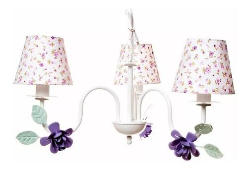 lustre floral provençal flores lilás quarto bebê infantil